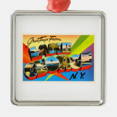 Lake George New York Ny Vintage Travel Souvenir Metal Ornament at Zazzle