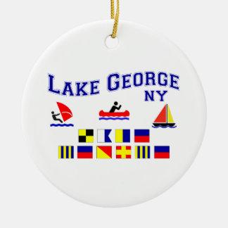 Lake George NY Signal Flags Ceramic Ornament