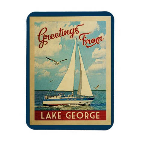 Lake George Sailboat Vintage Travel New York Magnet