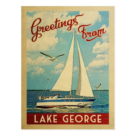 Lake George Sailboat Vintage Travel New York Postcard