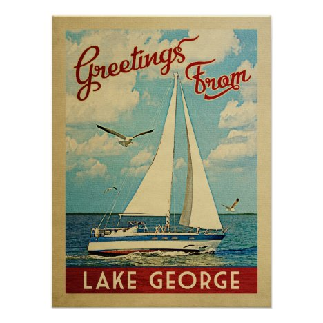 Lake George Sailboat Vintage Travel New York Poster
