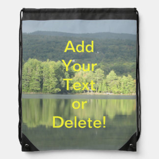 Lake Green Trees Reflection Drawstring Backpack