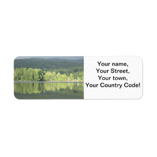 Lake Green Trees Reflection Label