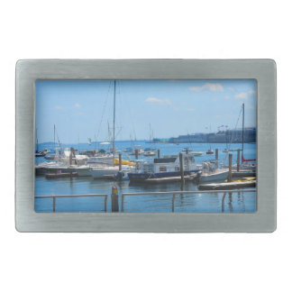 Lake Harbour SailBoats Lake view of Boston City Belt Buckle