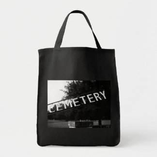 Lake Hill Cemetery Sign Dark Art Tote Grocery Tote Bag