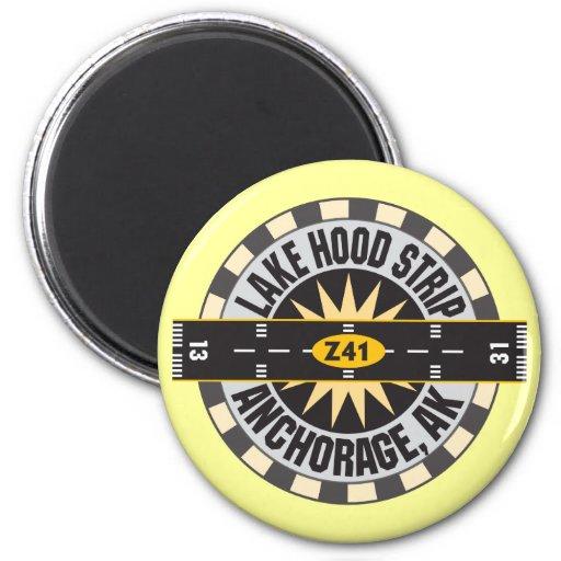 Lake Hood Strip Alaska Z41 Airport 2 Inch Round Magnet