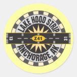 Lake Hood Strip Alaska Z41 Airport Round Sticker