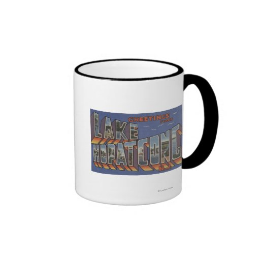 Lake Hopatcong, New Jersey - Large Letter Scenes Ringer Coffee Mug