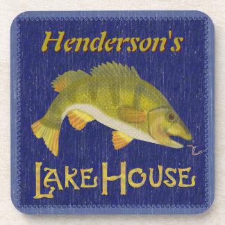 Lake House Bass Fish Rustic Nautical | Add Name Beverage Coaster