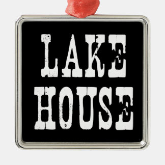 Lake House Black Metal Ornament