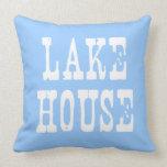 Lake House Blue Throw Pillow