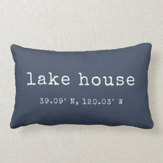 Lake House Custom Coordinates Throw Pillow