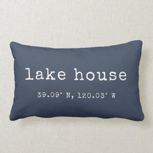 Lake House Custom Coordinates Throw Pillow