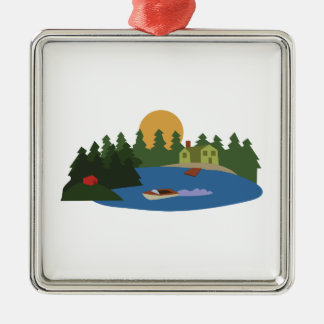 Lake House Metal Ornament