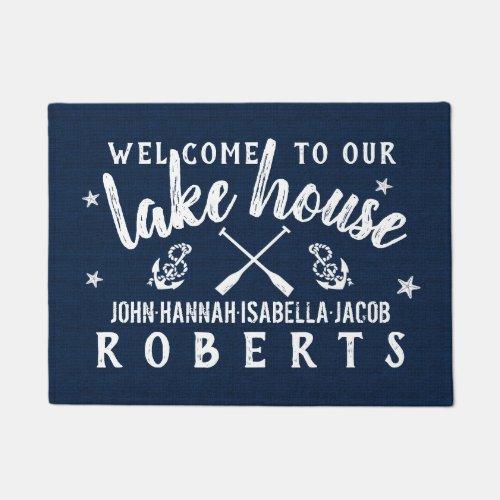 Lake House Paddles Anchors Custom Navy White Doormat