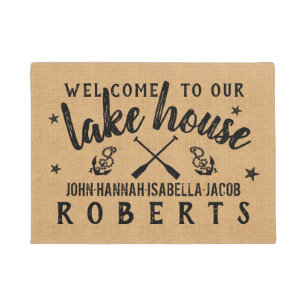Lake House Paddles Anchors Custom Rustic Burlap Doormat