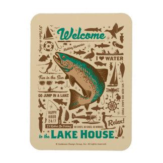 Lake House Pattern Rectangular Photo Magnet