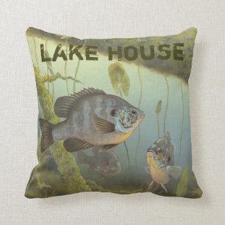 Lake House Rock Bass Perch Fishing Throw Pillow