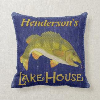 Lake House Rustic Nautical Bass Fish | Add Name Throw Pillow