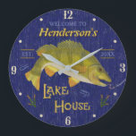 "Lake House Rustic Nautical Bass Fish | Custom Name Large Clock<br><div class=""desc"">This cool, personalized wall clock is perfect for your lake house. It shows an original drawing of a bass fish about to bite a worm on a hook. The text says, &quot;Welcome to [Your Name] Lake House&quot; and includes room for your established year. The design is made in shades of...</div>"