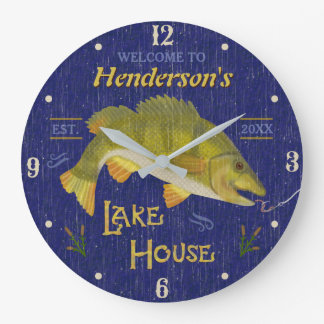 Lake House Rustic Nautical Bass Fish | Custom Name Large Clock
