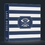"""Lake House Vacation Rental Guest Information 3 Ring Binder<br><div class=""""desc"""">Our lakeside chic binder is perfect for sharing and organizing guest information for your vacation rental, lake house or cottage. Design features our Lake House canoe paddles logo against classic navy blue and white stripes, with &quot;welcome to the lake house&quot; and your year established in the center. Personalize the spine...</div>"""