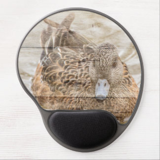 Lake House woodgrain pond wild duck Gel Mouse Pad