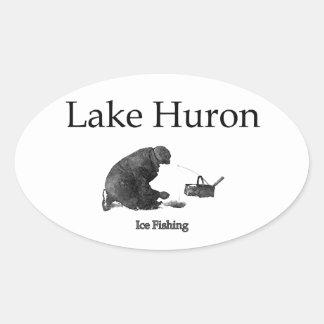 Lake Huron Ice Fishing Oval Sticker