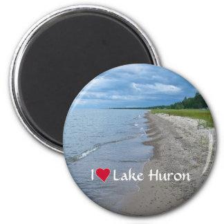 Lake Huron Summer Beach 2 Inch Round Magnet