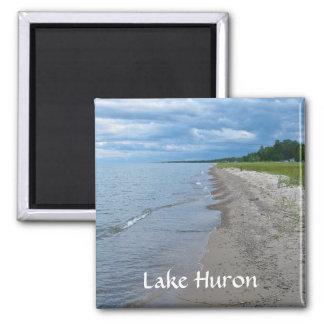 Lake Huron Summer Beach 2 Inch Square Magnet