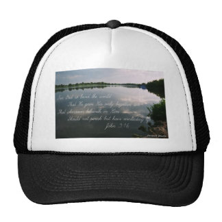 Lake image with John 3:16 scripture Mesh Hats