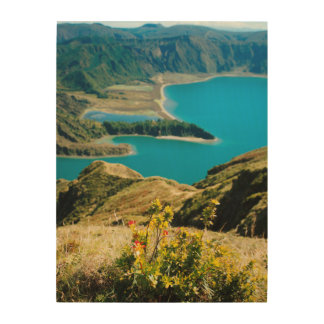 Lake in Azores islands Wood Wall Art