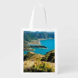 Lake in Azores islands Grocery Bag
