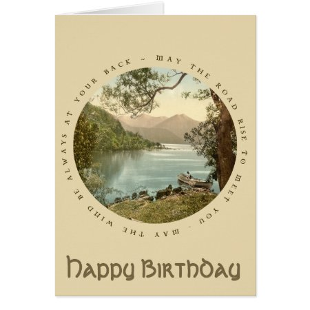 Lake In Kerry Ireland Vintage Happy Birthday Card