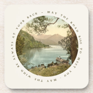 Lake in Kerry Ireland with Irish Blessing Drink Coaster