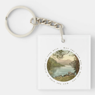 Lake in Kerry Ireland with Irish Blessing Double-Sided Square Acrylic Keychain