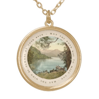 Lake in Kerry Ireland with Irish Blessing Round Pendant Necklace