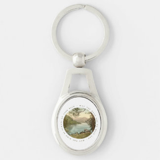 Lake in Kerry Ireland with Irish Blessing Silver-Colored Oval Metal Keychain