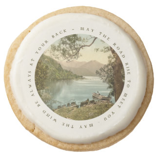 Lake in Kerry Ireland with Irish Blessing Round Shortbread Cookie