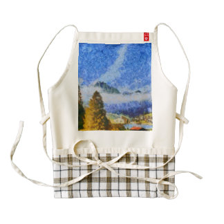 Lake in the middle of Swiss beauty Zazzle HEART Apron