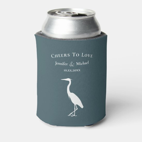 Lake in the mountains heron cheers to love can cooler
