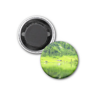 "Lake "" in the mountains""Lake green forest 1 Inch Round Magnet"