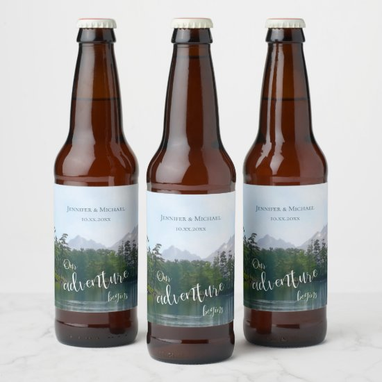 Lake in the mountains our adventure begins wedding beer bottle label