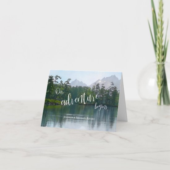 Lake in the mountains our adventure begins wedding card