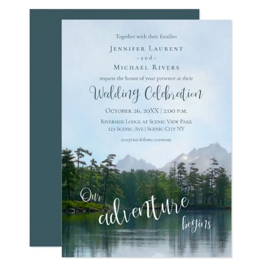 Lake in the mountains our adventure begins wedding invitation