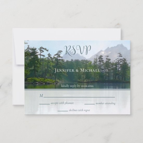 Lake in the mountains our adventure begins wedding RSVP card