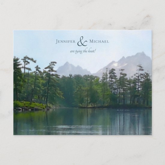 Lake in the mountains rustic nature landscape announcement postcard