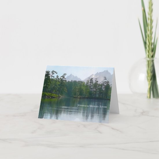 Lake in the mountains rustic nature landscape card