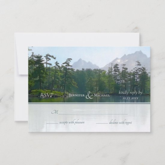 Lake in the mountains rustic nature landscape RSVP card