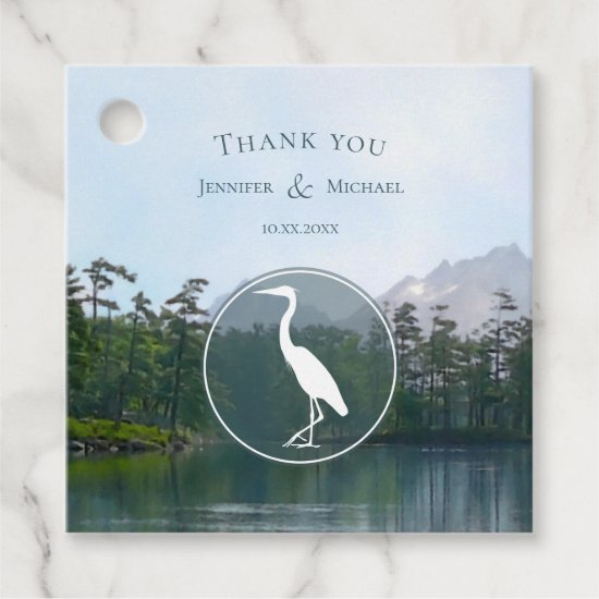 Lake in the mountains rustic nature lovers heron favor tags